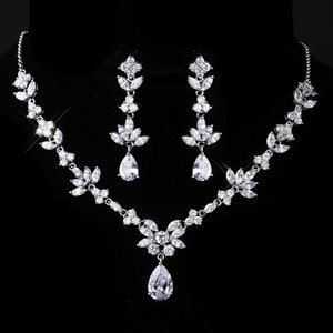 Sparkling Cubic Zirconia Bridal Wedding Prom Pageant Jewelry Set