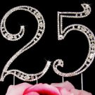 25th Anniversary Birthday Party 25 Silver Plated Crystal Cake Topper