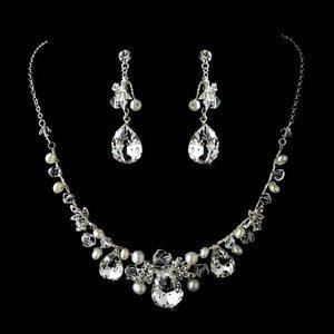Silver Plated Rhinestone and  Pearl Bridal Wedding  Jewelry Set