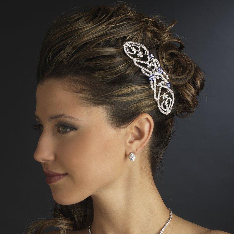 "Bella ""Twilight"" Wedding Bridal Prom Hair Comb with Clear and Blue Rhinestones"