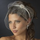 Ivory Wedding Bridal Headband with Birdcage Veil and Pearl Side Ornament