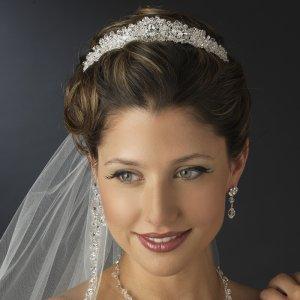 Princess Cut Crystal and Diamante Rhinestone Wedding Tiara
