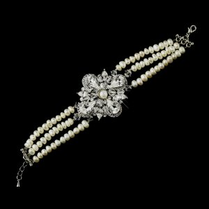 Freshwater Pearl and Rhinestone Vintage Look Wedding Bracelet