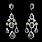 Sapphire Blue CZ Crystal Antique Silver Wedding Bridal Prom Pageant Earrings
