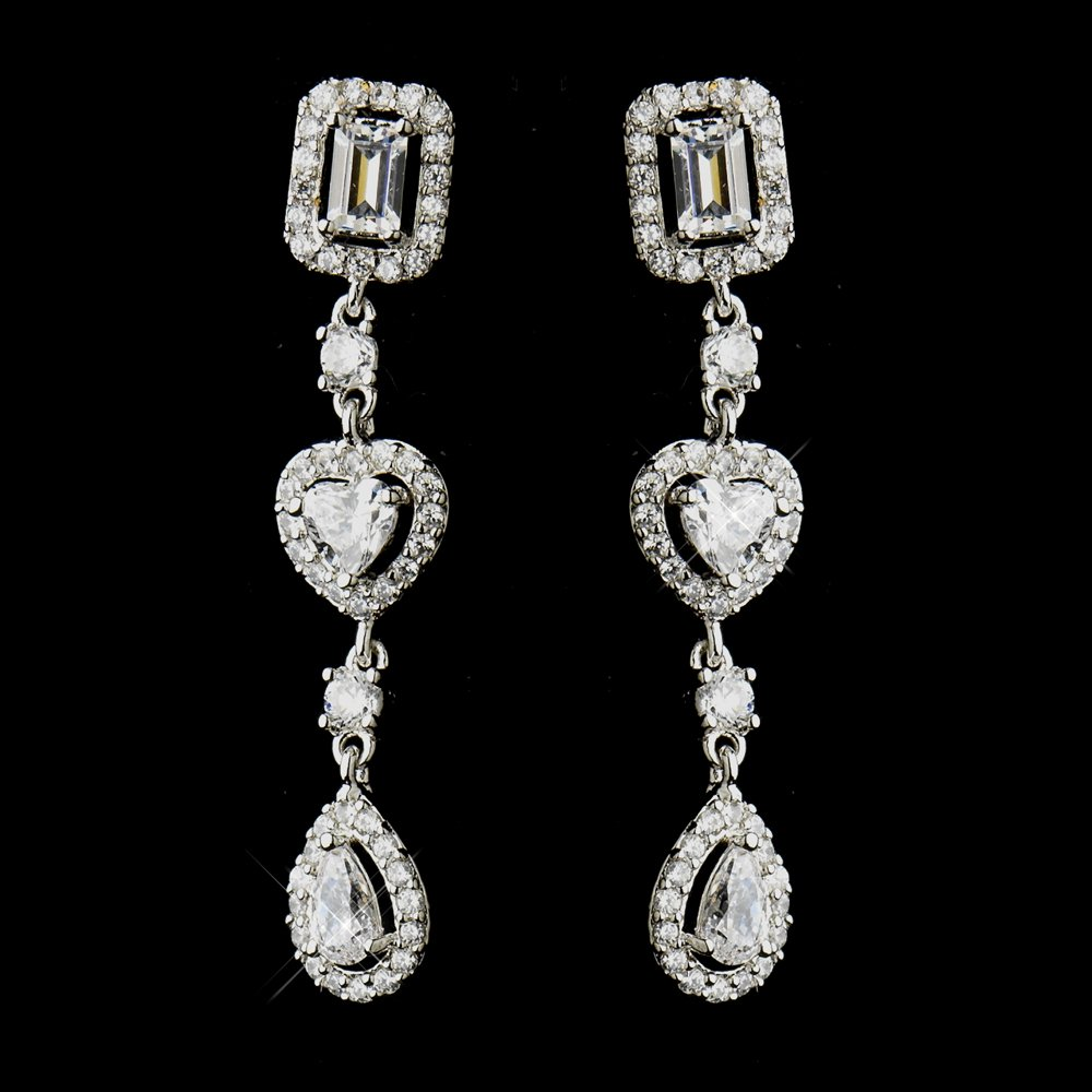 Vintage Inspired Heart CZ Antique Silver Wedding Bridal Prom Pageant Earrings