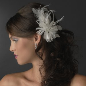 White Bridal Feather and Rhinestone Fascinator Bridal Wedding Comb