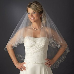 Two Layer Fingertip Length Bridal Wedding Veil with Beaded Embroidery