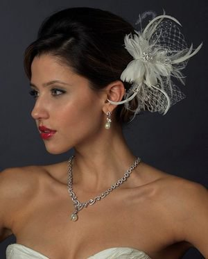 Ivory Feather Fascinator Wedding Bridal Hair Clip