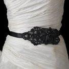 Black Beaded Flower Wedding Dress Bridal Ribbon Belt Sash