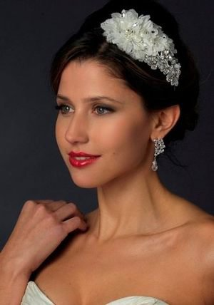 Crystal and Pearl Floral Side Accent Bridal Wedding Headband