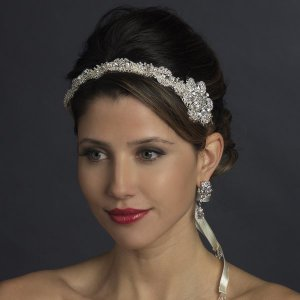 New! Diamante Crystal Silver Plated Bridal Ribbon Wedding Headband! White or Ivory