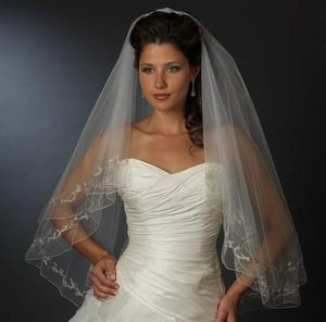 Two Layer White Fingertip Wedding Veil with Silver Embroidery