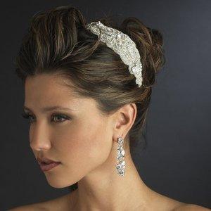 Stunning Rhinestone and Beaded Fabric Side Accent Bridal Wedding Headband