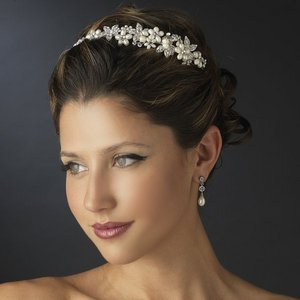 Ivory Pearl and Rhinestone Floral Wedding Side Accent Bridal Headband