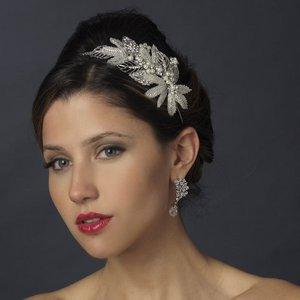 Diamante Crystal and Pearl Leaf Side Accent Wedding Bridal Headband