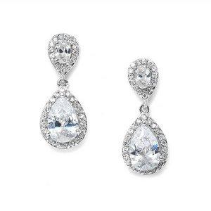 Mariell CZ Teardrop Wedding Prom Earrings 3520E