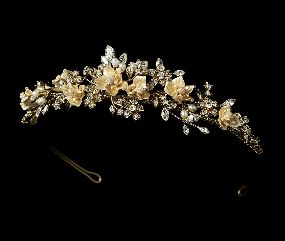 Gold Pearl Rhinestone Headpiece BridalTiara