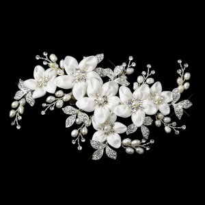 Freshwater Pearl and Crystal Flower Wedding Hair Clip