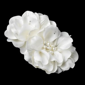 Double Flower Wedding Hair Clip with Pearls and Rhinestones