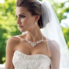 Crystal and Freshwater Pearl Silver Plated Bridal Necklace Earring Wedding  Jewelry Set