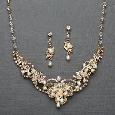 Gold Freshwater Pearl and Crystal Wedding Jewelry Set