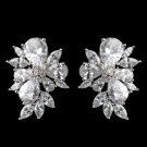 Multi Cut CZ Cluster Wedding Prom Formal Stud Earrings