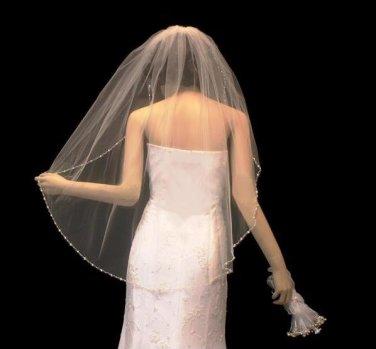 Crystal and Pearl Beaded Edge Fingertip Length Wedding Veil