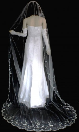 Elaborate Beaded Floral Embroidery Cathedral Length Wedding Veil