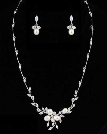 CZ and Freshwater Pearl Silver Plated Wedding Jewelry Set