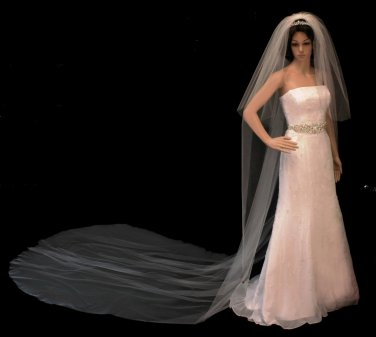 Extra Long Two Layer Cut Edge Royal Cathedral Length Wedding Veil
