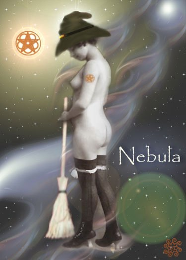 ACEO Witch Card HennaToo Girl Nebula Vintage Nude Print