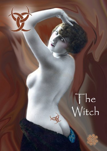 ACEO The Witch Card HennaToo Girl Vintage Nude Print