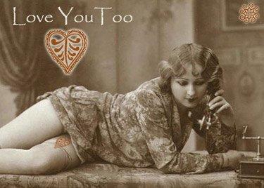 ACEO Love You Too Card HennaToo Girl Vintage Nude Print