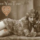 ACEO Love You Too Card HennaToo Girl Vintage Nude Print