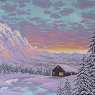 CABIN BY WINTER TWIGHLIGHT