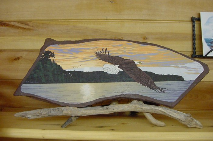 EAGLE IN FLIGHT**ORIGINAL SANDSTONE PAINTING**SIGNED