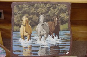 GALLOPING HORSES THROUGH STREAM**ORIGINAL SANDSTONE PAINTING**SIGNED