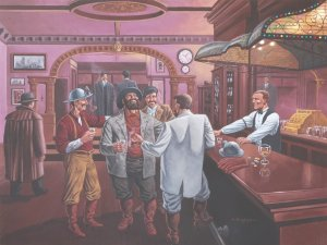 SHUTE'S BAR**CALUMET MICHIGAN MINING ERA**LIMITED EDITION PRINT*SIGNED