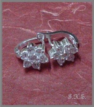 Silver 925 Flower Earrings with Swarovski Mini-Stones