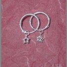 Silver 925 Loop Earrings with Hanging Stars