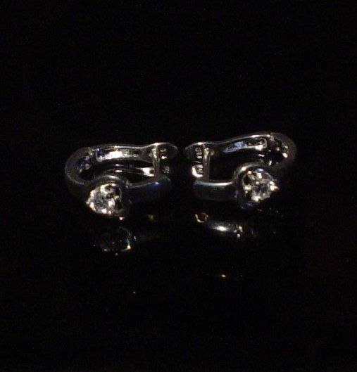 Silver 925 Heart Bangle Clip Earrings With Swarovski Mini Stones