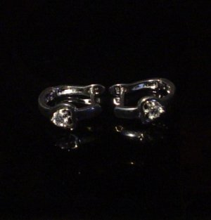 Silver 925 Heart Bangle Clip Earrings With Swarovski Mini Stones