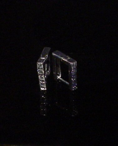Silver 925 Box Clip Earrings With Swarovski Mini Stones