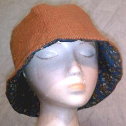 NEW~HANDMADE REVERSIBLE HAT~ORANGE-TAN/BLUE FLORAL DESIGN