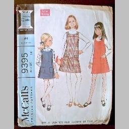 VINTAGE SEWING PATTERN~Girls' Jumper & Blouse~size 14~McCalls #9395 (1976)