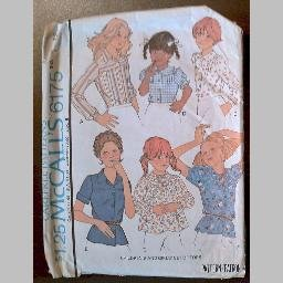 VINTAGE SEWING PATTERN~Girls' Blouses/Tops/Shirts~size 12~McCalls #6175 (1976)