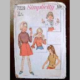 VINTAGE SEWING PATTERN~Girls' Blouses/Shirts/Tops~size 10~Simplicity #7229 (1967)