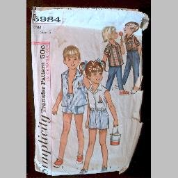 VINTAGE SEWING PATTERN~Girls' & Boys' Shirts & Pants/Shorts~size 5~Simplicity #5984 (1965)