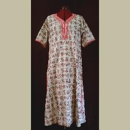African-Style~CAFTAN & PANTS Set~VINTAGE~HANDMADE~Grey & Red figure printed design