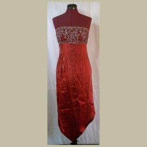 Gorgeous SATIN BURGUNDY FORMAL DRESS~Embroidered Bodice~Prom~Homecoming~size S/M